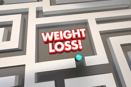 finding your way: Weight Loss Diet Lose Pounds Eat Less Maze 3d Illustration Stock Photo