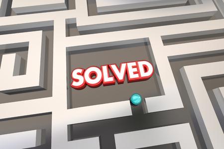 finding your way: Solved Maze Problem Solution 3d Illustration