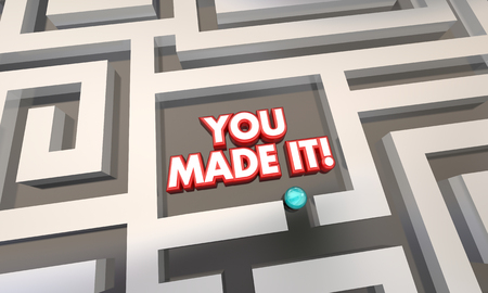 finding your way: You Made it Maze Lost Found Success 3d Illustration