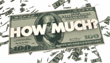 Hoeveel geld Cash Spending kostprijs 3d Illustratie Stockfoto