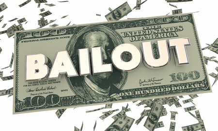 bail: Bailout Financial Crisis Money Cash Falling Word 3d Illustration