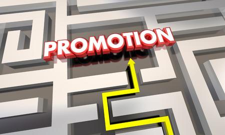 finding your way: Promotion Job Raise Career Advancement Maze 3d Illustration