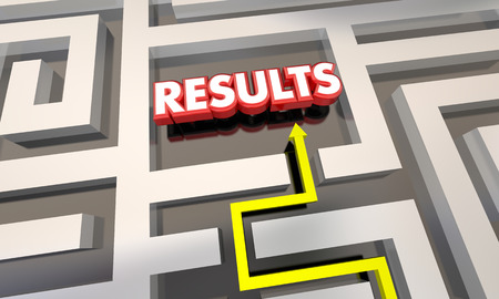 get out: Results Reach End Goal Maze Outcome 3d Illustration