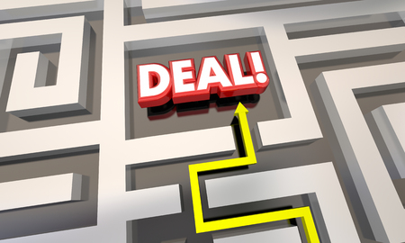 finding your way: Deal Closed Sale Contract Save Money Maze 3d Illustration