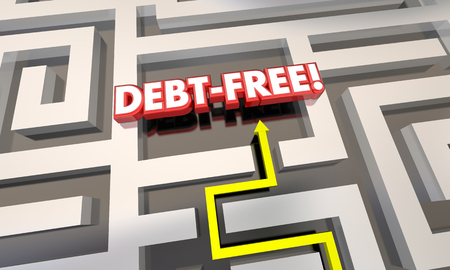 finding your way: Debt Free Maze Budget Pay Off Credit Cards 3d Illustration