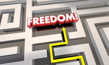 finding your way: Freedom Liberation Get Out of Maze Arrow 3d Illustration