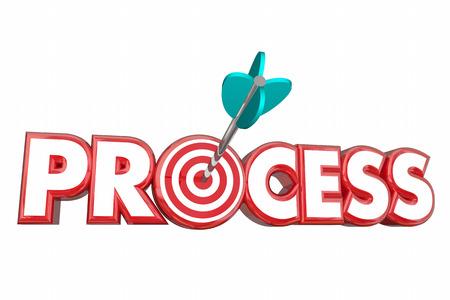 Proceso Procedimiento sistema de destino Flecha 3d ilustración