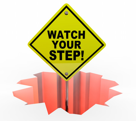 be careful: Watch Your Step Be Careful Hole Sign Danger 3d Illustration