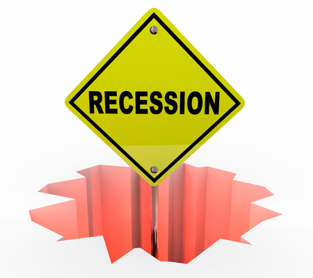 economics: Recession Economy Warning Sign Financial Downturn 3d Illustration