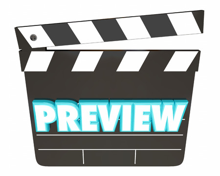 Preview Movie Film Coming Soon Clapper Board 3d Illustration Stock Photo