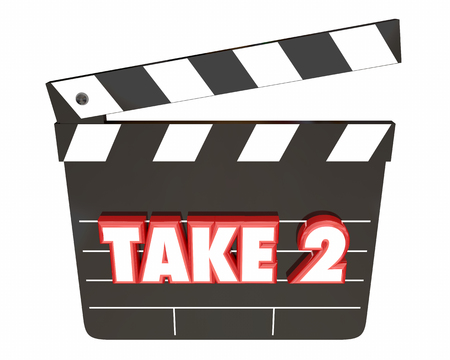 redo: Take 2 Two Second Retry Redo Scene Movie Clapper 3d Illustration