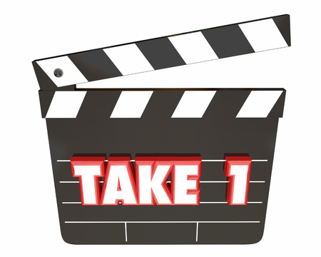 Take 1 One First Attempt Try Scene Movie Clapper Board 3d Illustration Stock Photo
