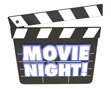 date night: Movie Night Clapper Board Entertainment Film Watching 3d Illustration