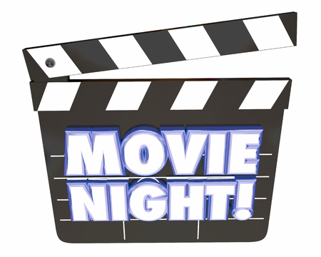 Movie Night Clapper Board Entertainment Film Watching 3d Illustration