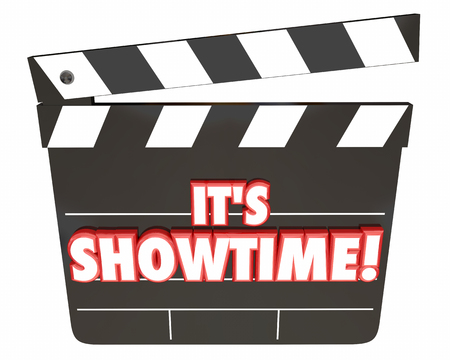 it's: Its Showtime Movie Clapper Board Start Show Movie 3d Illustration
