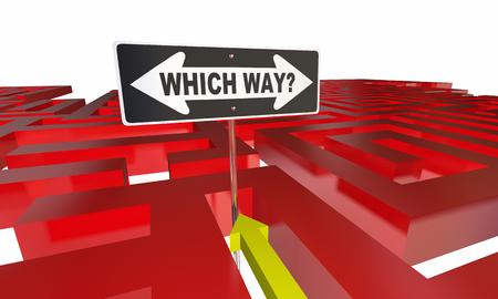 decide: Which Way Choose Decide Path Maze 3d Illustration
