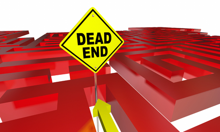 finding your way: Dead End Sign Maze No Way Out Danger Warning 3d Illustration
