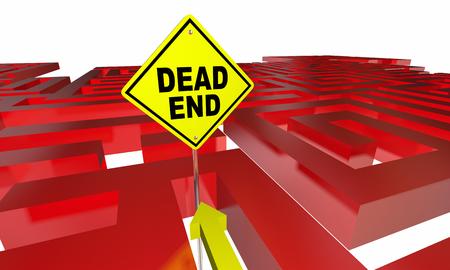 Dead End Sign Maze No Way Out Danger Warning 3d Illustration