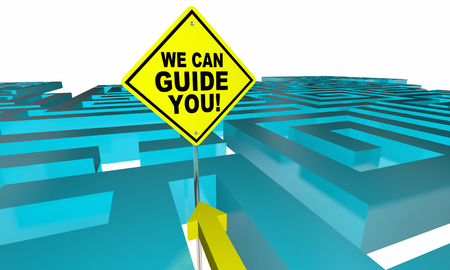 finding your way: We Can Guide You Out Find Direction Maze 3d Illustration Stock Photo