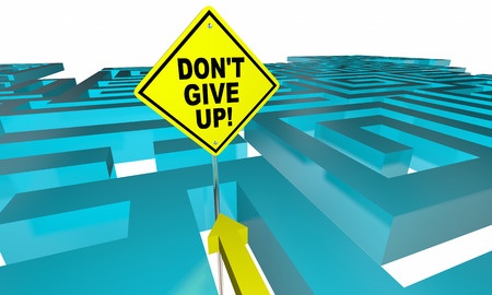 Dont Give Up Maze Lost Find Way Positive Attitude 3d Illustration