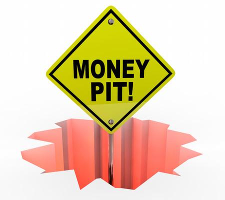 avoiding: Money Pit Spending Wasting Cash Sign Hole 3d Illustration Stock Photo