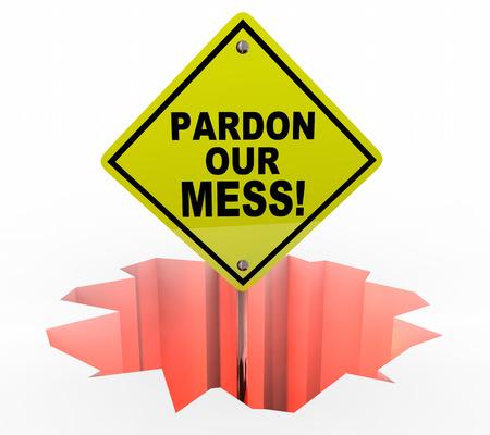 Pardon Notre Mess Construction Excusez-nous Inscription Illustration 3d Banque d'images