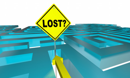 disorientation: Lost Maze Sign Find Way Out 3d Illustration