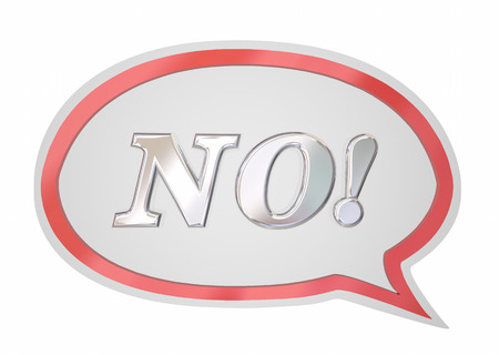 negative: No Answer Word Speech Bubble Denied Rejection 3d Illustration Stock Photo