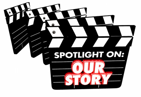 past production: Spotlight on Our Story Background Movie Film Clapper Boards 3d Illustration