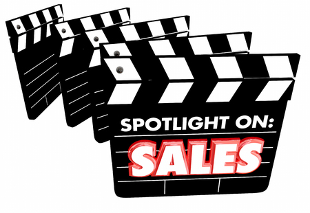 Spotlight on Sales Movie Clapper Boards Revenue 3d Illustration