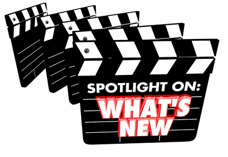 Spotlight on Whats New Update News Announcement Movie Clapper Boards 3d Illustration
