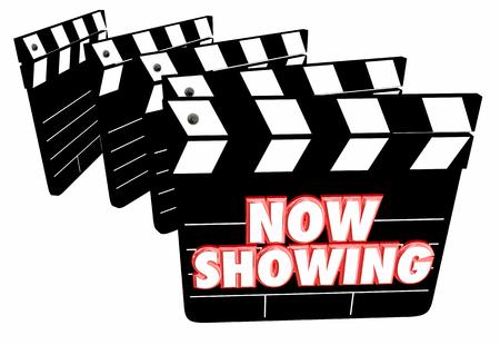 entertaining presentation: Now Showing Movie Film Clapper Boards Theatre 3d Illustration