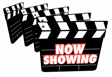Now Showing Movie Film Clapper Boards Theatre 3d Illustration