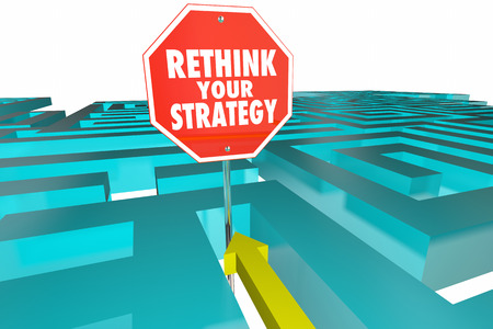 strategize: Rethink Your Strategy New Plan Maze Sign 3d Illustration
