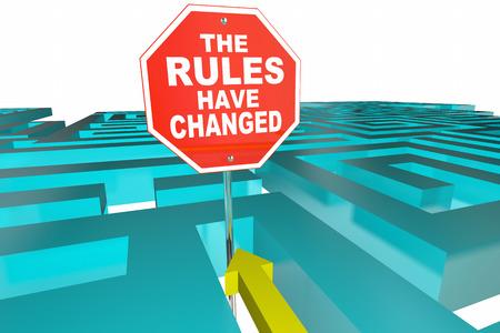 Las reglas han cambiado juego de puzzle Nuevas instrucciones Ilustración 3d Foto de archivo