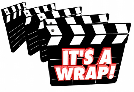 conclude: Its a Wrap Final Finished Complete Done Movie Clapper Boards 3d Illustration
