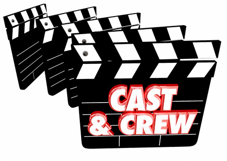casts: Cast and Crew Film Credits Movie Clapper Boards 3d Illustration Stock Photo