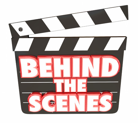 from behind: Behind the Scenes Movie Film Clapper Board 3d Illustration