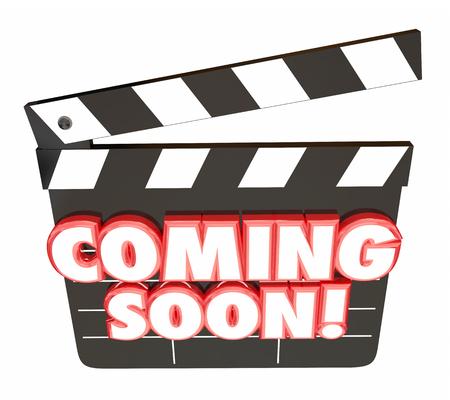 Coming Soon Parole valvola di film Consiglio Anteprima Illustrazione 3D