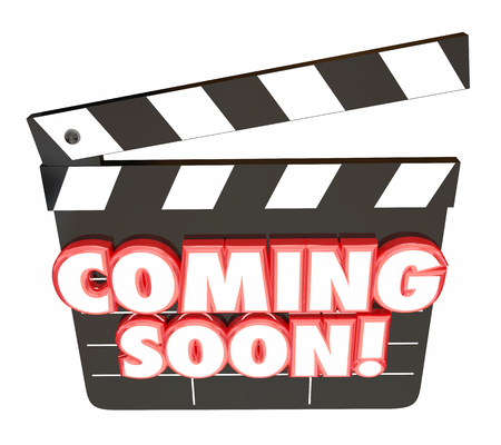 Coming Soon Words Movie Clapper Board Preview 3d Illustration Stock Photo