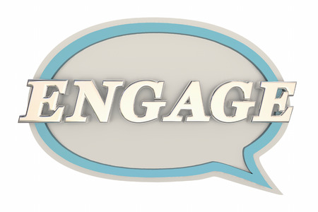 interacting: Engage Speech Bubble Communicate Interact 3d Illustration
