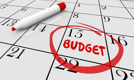 circled: Budget Financial Plan Calendar Word Circled 3d Illustration