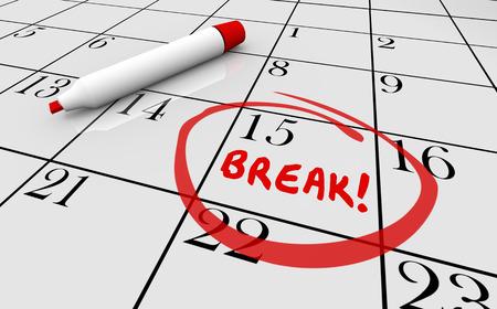 休憩時間休日休暇リラックス カレンダー Word の 3 d 図 写真素材