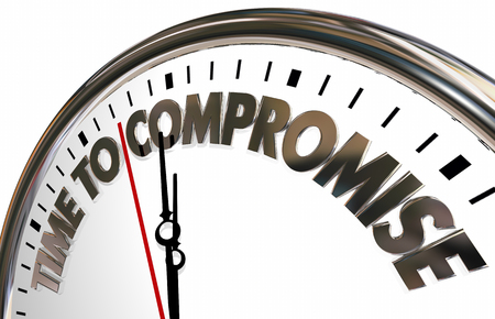 to compromise: Time to Compromise Clock Negotiate Words 3d Illustration Stock Photo