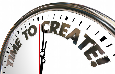 develop: Time to Create Build Imagine Develop Clock 3d Illustration Stock Photo