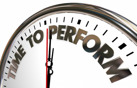 accomplish: Time to Perform Do Job Clock Words 3d Illustration