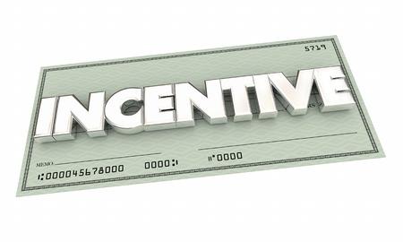 Incentive Money Check Reward Commission 3d Illustration