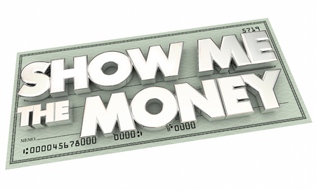 pay check: Show Me the Money Pay Check Words 3d Illustration