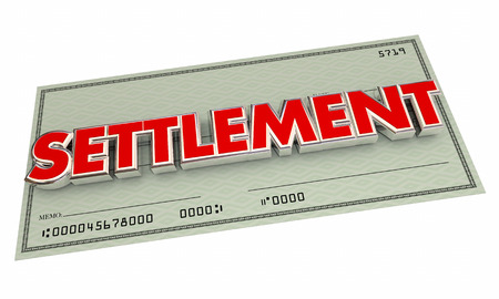 compensated: Settlement Check Agreement Payout Word 3d Illustration