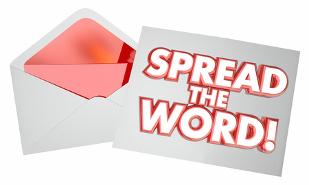 spread the word: Spread the Word Letter Message Note Envelope 3d Illustration